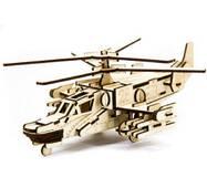 """Механический деревянный 3d паззл SUNROZ Вертолет """""""" Черная акула"""""""" 88 эл."""