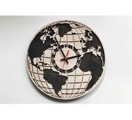 Дизайнерские настенные деревянные часы Глобус