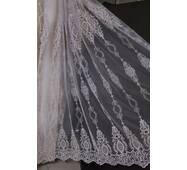 Тюль с кордовой нарядной вышивкой пудрового цвета в гостиную, спальную, зал