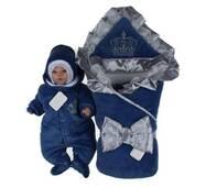 Набор на виписку з пологового будинку зимовий Lari Excellent велюр 56 синій