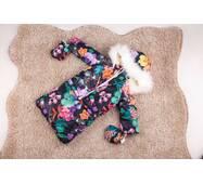 Зимовий комбінезон трансформер трійка Natalie Look квітковий 56-86 см Чорний з рожевим