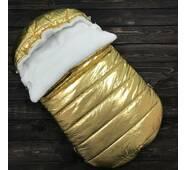 Зимовий конверт кокон на виписку з пологового будинку Кокон плюс Gold 70х40 см золотої