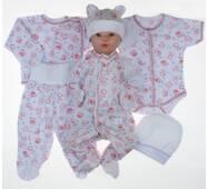 Набор одежды для новорожденного в роддом Lari 6 предметов 56 бело-розовый
