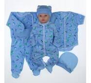 Набор одежды для новорожденного в роддом Lari 6 предметов 56 голубой