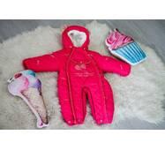 Зимний комбинезон-трансформер Timmy Kids Baby с отстегивающимся мехом 56-86 см малиновый