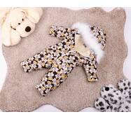 Комбинезон детский зимний на овчине Natalie Look Мишка в рубашке 122-128 см бежево-коричневый