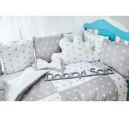Защита со съемными наволочками в кроватку Dobryi son Bravo 12 шт 3-03-1 Серо-белая звезда