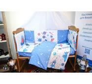 Защита-бортики в кроватку для новорожденных Леко Dobryi son Сине-белый