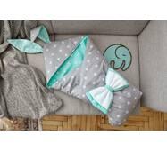 Конверт-ковдра для малюка Dobryi Son Капюшон з вушками Зайчика 100х80 см Сіро-м'ятний