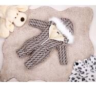 Комбинезон детский зимний на овчине Natalie Look FF 122-128 см бежево-коричневый