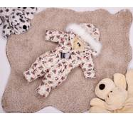 Комбинезон детский зимний на овчине Natalie Look Мопсы 116-122 см бежевый
