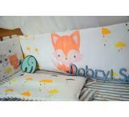 Защита-бортики в кроватку для новорожденных Леко Dobryi son Бело-серый