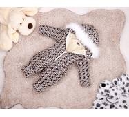 Комбинезон детский зимний на овчине Natalie Look FF 128-134 см бежево-коричневый