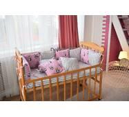 Защита со съемными наволочками в кроватку Dobryi son Bravo 12 шт 3-03-1 Розовая панда + полоска