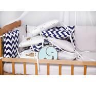 Бортики-защита в кроватку из сатина Верона - 2 Мишка+зигзаг Dobryi son