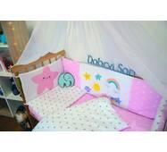 Защита-бортики в кроватку для новорожденных Леко Dobryi son Розово-белый