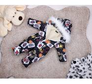 Комбинезон сдельный детский зимний на овчине Natalie Look Карты 86-92 см