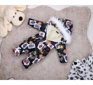 Комбинезон сдельный детский зимний на овчине Natalie Look Карты 104-110 см