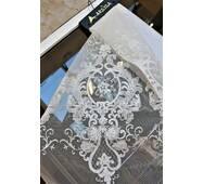 Тюль белая с вышитой короной коллекция Arsisa