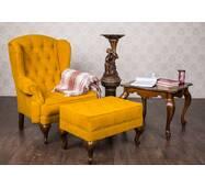 Кресло Терри для кабинета с пуфиком и журнальным столом из массива дерева