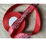 Стрічка  атласна  червоного кольору'' Завитої'' 2.5см