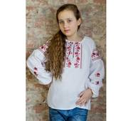 """Вишита блуза для дівчинки """"Кокетка"""" червоні трояндочки"""