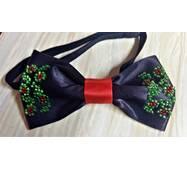 Бабочка-галстук  вышивка   бисером (черного цвета)