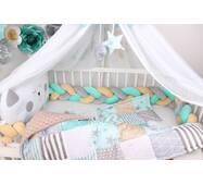 Комплект в ліжечко з бортом кіскою в сіро-м'ятному кольорі