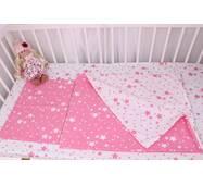 Постільна білизна в дитяче ліжечко рожеві зірки