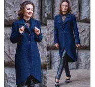 Женское шерстяное пальто в стиле милитари Букле 2704
