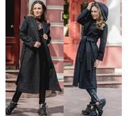 Длинное женское пальто с поясом Букле 1884 [цвет: черный]