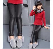 Детские классические кожаные лосины на флисе  Арт.CZ911