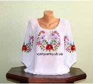 Сорочка жіноча з білого шифону вишита гладдю. Ручна робота