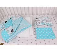 """Комплект в коляску для новонародженого """"Сині Кити"""" у бірюзовому кольорі"""