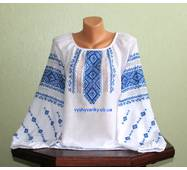 Жіноча вишита сорочка з голубим орнаментом. Ручна робота.