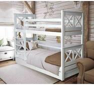Ліжко двох'ярусне біле (дерево)