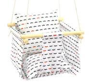 Дитяча качеля з подушечкою для будинку біла Вусики