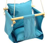 Качелька підвісна з подушечкою для будинку блакитна