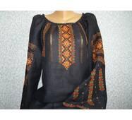 Гуцульська вишиванка жіноча  на чорному льоні