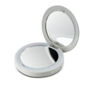 Компактне дзеркало Pretty&Powerful з функцією Powerbank. Звичайне і 2-кратне збільшення, LED- підсвічування, USB- кабель для зарядки дзеркала, USB- зарядка для смартфону Homedisk