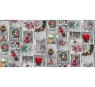 Ткань декоративная хлопок яркие новогодние украшения на древесном фоне