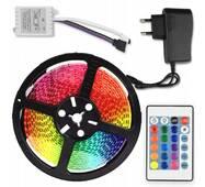 Cветодиодная Лента c Пультом и Блоком Питания Влагозащищенная LED 3528 SMD RGB 12v 5М с контроллером Водонепроницаемая