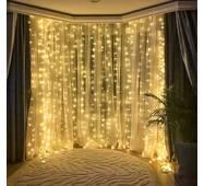 Гирлянда светодиодная штора LTL curtain 3*3 метра 300 led 220v теплое свечение без пульта (003SAG 0460)