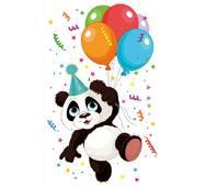 """Подарунковий пакет великий вертикальний """"Панда з кульками"""" 25х38 см   (6 шт/уп)"""
