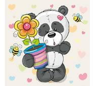 """Подарункові пакети """"Ведмедик з квіткою"""" 23 х 24 см   (6 шт/уп)"""