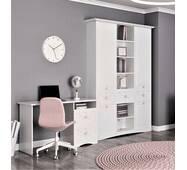 Белый письменный стол и книжный стеллаж в детскую Бланка