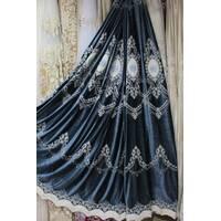 Шторы синий бархат с накладным 3д цветком и вышивкой в г гостиную, спальную, зал