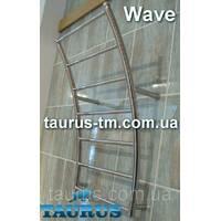 Полотенцесушитель з нержавіючої сталі Wave 8 перемичок, стойки у формі хвилі. Водяний, підключення 1/2