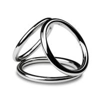 Потрійне ерекційне кільце Sinner Gear Unbendable - Triad Chamber Metal Cock and Ball Ring - Large