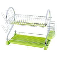Зеленая сушилка для посуды Kamille двухъярусная 55х24,5х37 см